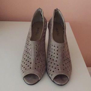 Tan suede peep toe heels